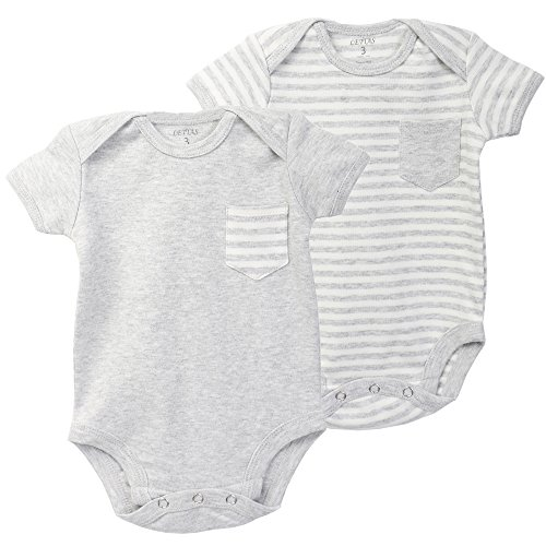 anic Cotton Short Sleeve Bodysuits,2-Pack,Very Soft with Small Pocket(6 Months, Grey/Grey Stripe) ()