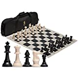 Yellow Mountain Imports Staunton Regulation Tournament Chess Set - World Chess Federation Compliant - Convenient Roll-Up Board, Weighted Chessmen and Two Spare Queens