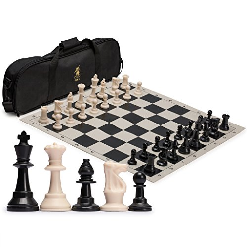 Tournament Staunton Chessmen Set - Yellow Mountain Imports Staunton Regulation Tournament Chess Set with 2 Extra Queens, Weighted Chessmen, Bag, and Roll-Up Vinyl Board with Black and Natural