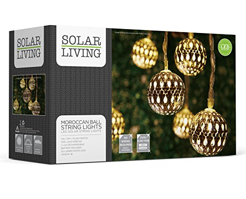 Cheap  SOLAR LIVING Solar Moroccan Ball String Lights 30 LEDs Total. Extra Long..