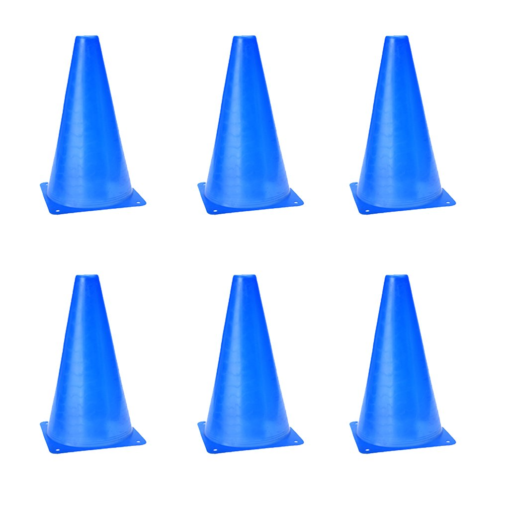 6 PCS Multi-function Safety Agility Cone for Football Soccer Sports Field Practice Drill Marking (Blue) SODIAL(R)
