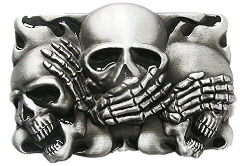 Original Vintage Flame Shy Skulls Rectangle Tattoo Belt Buckle Gurtelschnalle (With Enamel) (Buckle Skull Black Belt)