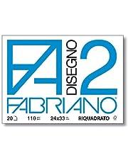 Fabriano F2 06201516, Album da Disegno, Formato 24 x 33 cm, Fogli Lisci Riquadrati, Grammatura 110gr/m2, 20 Fogli, 10 pezzi