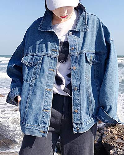 Denim Donna Kasen Manica Lunga Giubbino Giacca Oversized Jeans Blu Cappotti 71qOqfwx