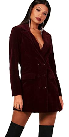 640c8a2520413 Boohoo Women's Phoebe Burgundy Velvet Double Breasted Blazer Tux Dress (8)