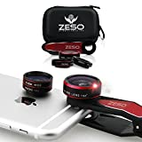 iPhone Lens 3 In 1 Kit by Zeso | Professional Fisheye, Macro & Wide Angle Lenses | For iPhone, Samsung Galaxy, Android, iPads, Tablets | Universal Phone Clip & Hard Storage Case | 4 Colors Camera Lens