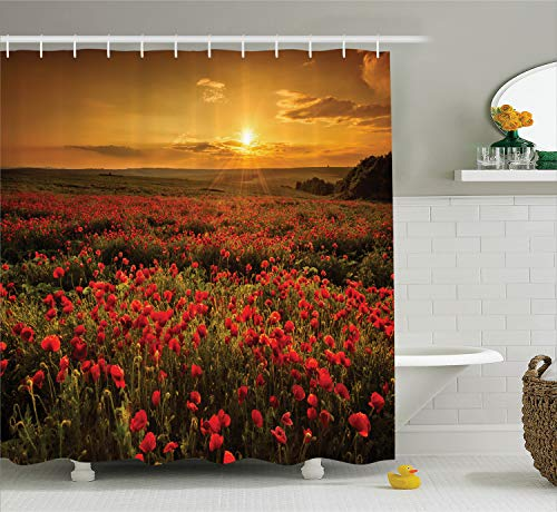 Ambesonne Poppy Decor Shower Curtain Set by, Poppy Field at Sunset Sun Beams Meadow Cloudscape Wildflower Scene, Bathroom Accessories, 69W X 70L Inches, Red Orange