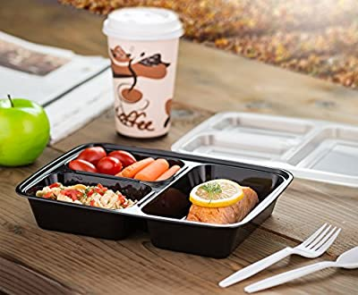 EZ Prepa [20 Pack] 32oz 3 Compartment Meal Prep Containers with Lids - Durable BPA Free Plastic Reusable Food Storage Container - Stackable, Reusable, Leak Resistant, Microwaveable & Dishwasher Safe by ez prepa