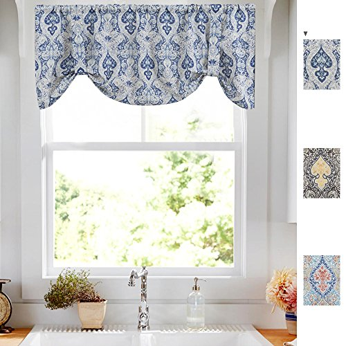 Tie Up Valances for Kitchen Windows Retro Linen Blend Damask Printed Tie-up Valance Curtains Rod Pocket Adjustable Rustic Medallion Tie-up Shade for Small Windows 20 Inches Long (1 Panel, Blue)