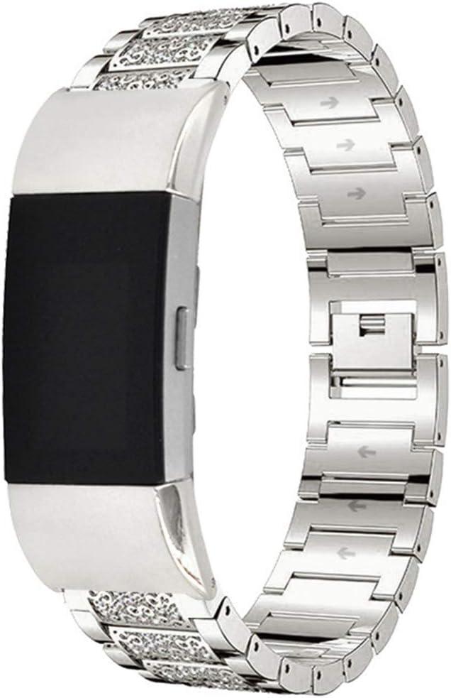 YWZQ Bracelet compatible avec Fitbit Charge 3 Bracelet en acier inoxydable avec strass pour Fitbit Charge 3 Argenté Argenté.