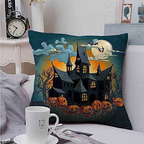 AndyTours Soft Microfiber Throw Pillowcase Set Halloween Medieval Haunted Castle Velvet Soft Soild Decorative 24 X 24 -