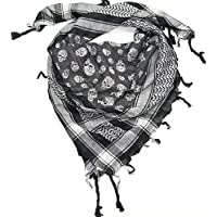 Craftshub Black White Skull Jacquard Arafat Desert Scarf - Stylish desert scarf is must have fashion accessory for both men and women.