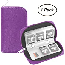 Memory Card Case, WOVTE Portable 8 Pages and 22 Slots SD SDHC MMC CF Micro SD Memory Camera Card Case Holder Pouch Zippered Storage Bag (Purple)