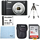 Sony W800/B DSC-W800/B DSCW800B 20 MP Digital Camera 5x Optical Zoom (Black) Bundle w/16GB Ultra SDHC UHS Class 10 Memory Card, Spare Battery, Table top Tripod, Deluxe Case, and Lens Cleaning Cloth