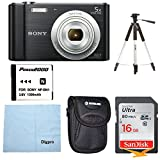 Cheap Sony W800/B DSC-W800/B DSCW800B 20 MP Digital Camera 5x Optical Zoom (Black) Bundle w/16GB Ultra SDHC UHS Class 10 Memory Card, Spare Battery, Table top Tripod, Deluxe Case, and Lens Cleaning Cloth