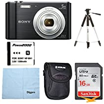 Sony W800/B DSC-W800/B DSCW800B 20 MP Digital Camera 5x Optical Zoom (Black) Bundle w/ 16GB Ultra SDHC UHS Class 10 Memory Card, Spare Battery, Table top Tripod, Deluxe Case, and Lens Cleaning Cloth