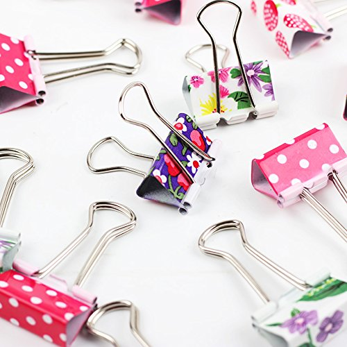 24 PCS Large Size 47mm Printed Metal Binder Clips Paper Clip Clamp Office School Binding Supplies by Office & School Supplies YingYing (Image #1)