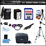 16GB Accessory Kit For Sony HDR-CX130 Handycam Camcorder Includes 16GB High Speed SD Memory Card + Replacement (2300Mah) NP-FV70 Battery + Ac / DC Charger + Deluxe Case + Tripod + 3PC Filter Kit (UV-CPL-FLD) + Mini HDMI Cable + USB 2.0 SD Reader + More