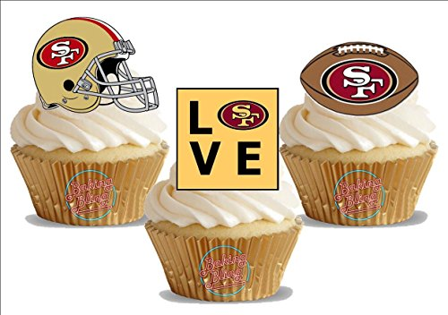 American Football San Francisco 49ers Trio Mix- Fun Novelty Birthday PREMIUM STAND UP Edible Wafer Card Cake Toppers Decoration]()