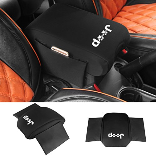Neoprene Center Console Armrest Pad Cover with Storage Bag For Jeep Wrangler JK Sahara Sport Rubicon X & Unlimited 2011 2012 2013 2014 2015 2016 2017 with Dog Paw Paws Print logo