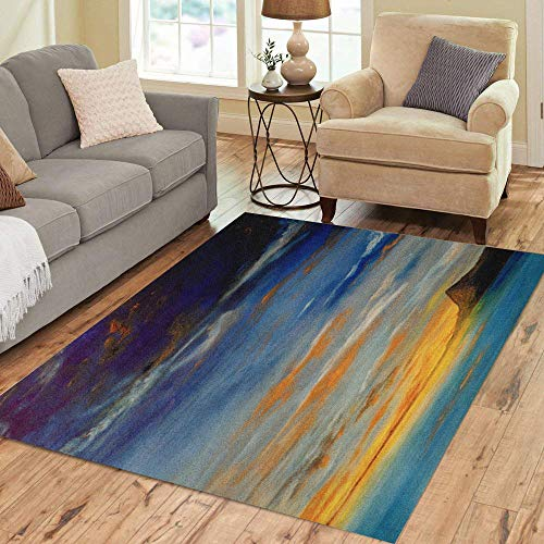 Artist Studio Collection Rug - Semtomn Area Rug 2' X 3' Blue Beautiful Small Scale Original Oil Painting on Canvas Home Decor Collection Floor Rugs Carpet for Living Room Bedroom Dining Room