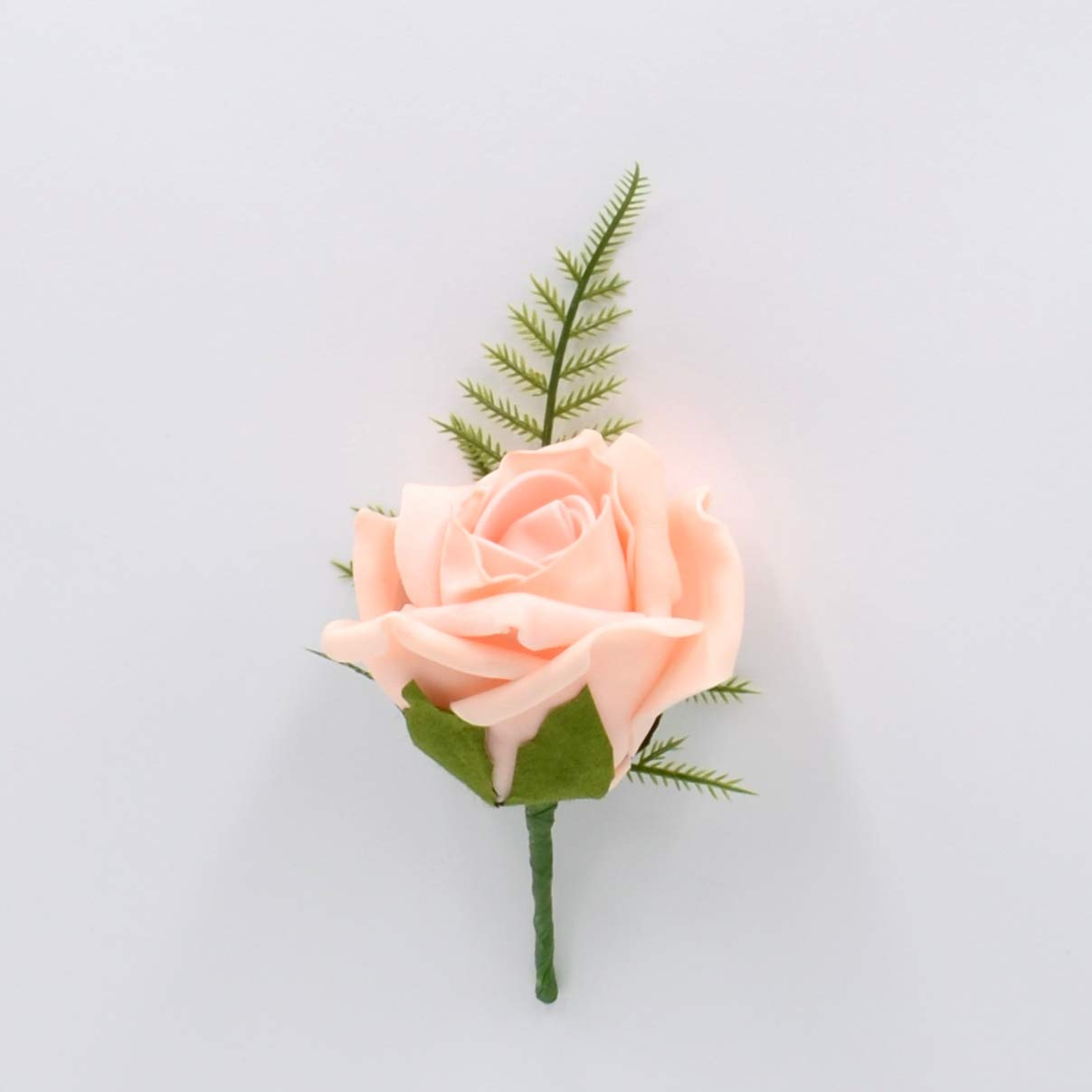 Artificial Wedding Flowers Hand-Made by Petals Polly, Foam Rose Buttonhole in Peach PETALS POLLY FLOWERS