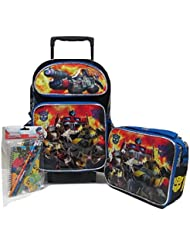 Transformers Autobots Roll Out Large 16 Rolling Backpack Roller Wheeled Book Bag, 3D FX Lunch Box & Stationery...