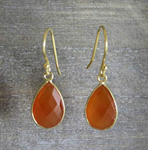 Carnelian Drop Gold Plated Sterling Silver Earrings
