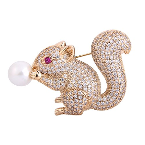 EVER FAITH Women's CZ White Simulated Pearl Lovely Little Squirrel Animal Brooch Clear Gold-Tone