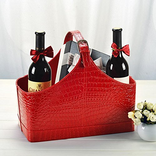 Leather Storage Basket,MDF structure Wine Flowers Fruits ...