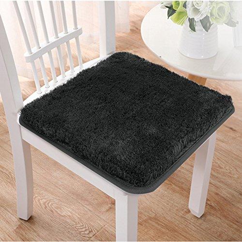 Seavish Chair Pads, Black custom Soft Non-slip Seat Cushion Cover Outdoor Indoor for Dinning Chairs Office Car Seat Sofa Wheelchair, 16x16 Casual Elegance Shag Chocolate