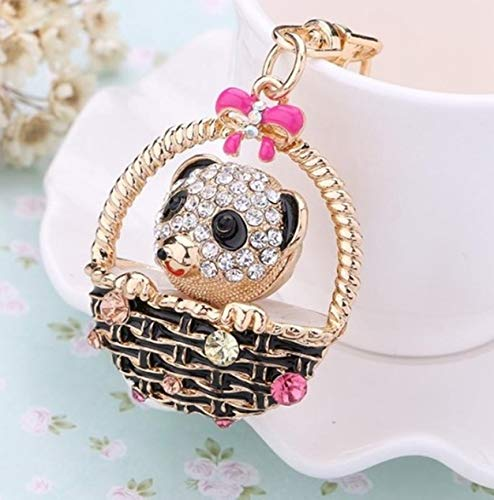 1 Set Rhinestone Animal Baskets Bear Keychain Souvenir Pendant Men Fur Rabbit Utility Tool Key Ring Bang-up Popular Pocket Bag Car Keyrings