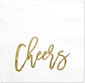 Andaz Press Cheers, Funny Quotes Cocktail Napkins, Gold Foil, Bulk 50-Pack Count 3-Ply Disposable Fun Beverage Napkins for Birthday Party, Holiday, Thanksgiving, Christmas, New Year's Eve Bar
