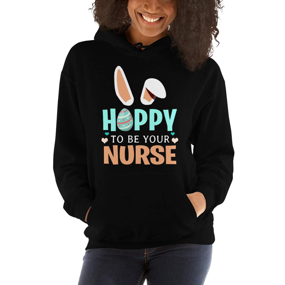 TEEPOMY Hoppy to Be Your Bunny Ears Easter Nurse Hooded Sweatshirt