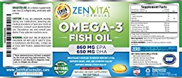 Omega 3 Fish Oil Capsules - 180 Softgels, 1640mg Omega 3, 860mg EPA, 650mg DHA, Lemon Flavored - NO Fishy Aftertaste, Pharmaceutical Grade, Molecularly Distilled & Mercury Free