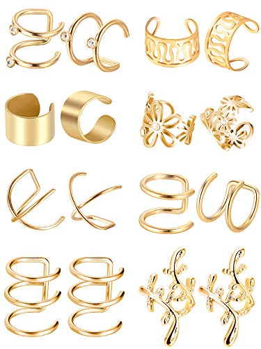 Blulu 8 Pairs Stainless Steel Ear Cuff Non Piercing Clip on Cartilage Earrings for Men Women, 8 Various Styles (Gold)