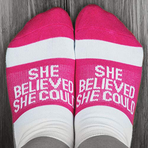 Inspirational Athletic Running Socks | Women's Woven Low Cut | She Believed Fuchsia
