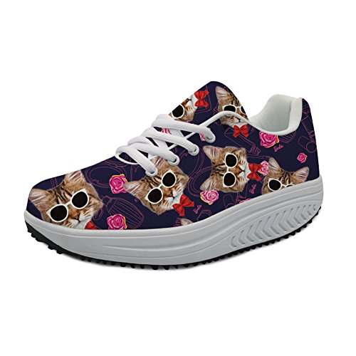 Women's Girls Ladies Cute Funny Funny Funny Cat Printed Walking Casual Wedges Platform Sneaker B07FH7SYMX Shoes b807af