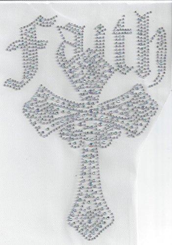 Cross Rhinestone Crystal Iron On Heat Press Hotfix Transfer Bling God Faith