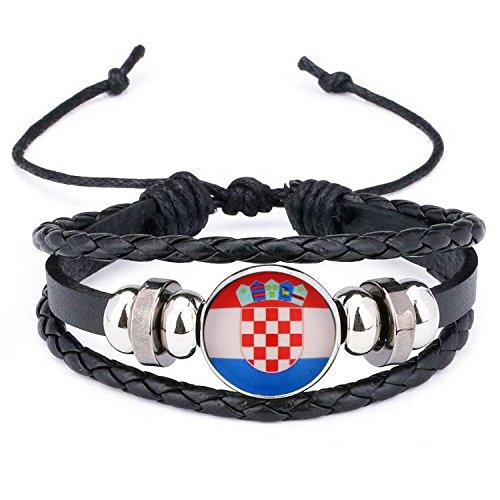 Ndier Armbä nder aus Silikon und Leder, Motiv: Kroatische Flagge, geflochten, Weltmeisterschaft 2018