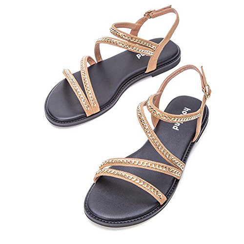 Double Strap Strappy CJC EU38 UK5 Sandals Cross Size Open CN38 Roman Lady's Gladiator Toe Shoes Color Toe A B 5 Ydvq8B