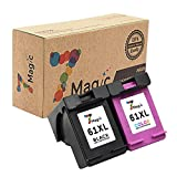 7Magic Remanufactured Ink Cartridge Replacement for HP 61XL 61 XL Use in Envy 4500 4501 4502 5530 Officejet 4630 4632 4635 Deskjet 1510 1512 2050 2540 2542 3000 3050 Printer (1 Black & 1 Tri-Color)