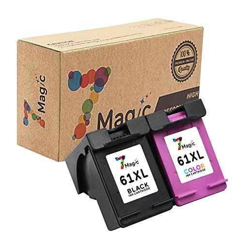 7Magic Remanufactured Ink Cartridge Replacement for 61XL 61 XL Use in Envy 4500 4501 4502 5530 Officejet 4630 4632 4635 Deskjet 1510 1512 2050 2540 2542 3000 3050 Printer (1 Black & 1 Tri-Color)