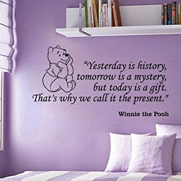 Fungoo Large Winnie The Pooh Wall Quote Art Sticker U0026quot;Yesterday Is  History,tomorrow Part 55