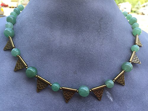 Green Stone Rounds and Brass Triangles Handmade Beaded Short Necklace