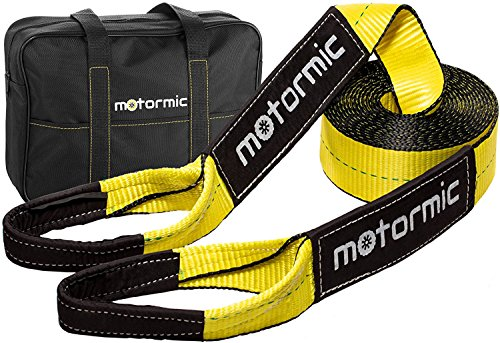3 Pull Rope Inch (Motormic Tow Strap Heavy Duty - Tow Rope Recovery strap 30ft x 3in with 30,000 lbs (15 US Ton) Capacity tow straps - Towing strap for Winch - Truck Tow Strap, Tow Rope, Car Tow Strap)