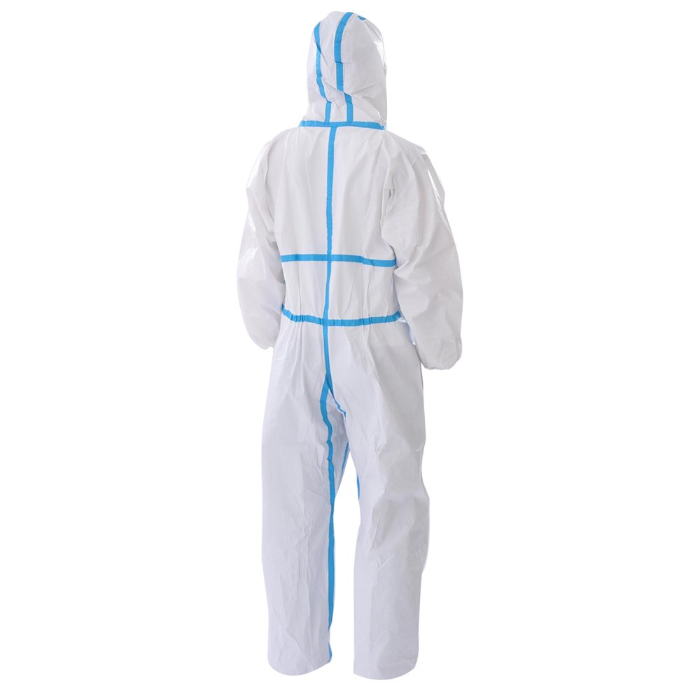 Raygard 30223 Disposable Chemical Protective Coverall Microporous Suit Taped Sealed Seams with Hood, Elastic Wrist, Ankles and Waist,Front Zipper Closure for Spray Paint Workwear(2X-Large, White) by Raytex (Image #1)