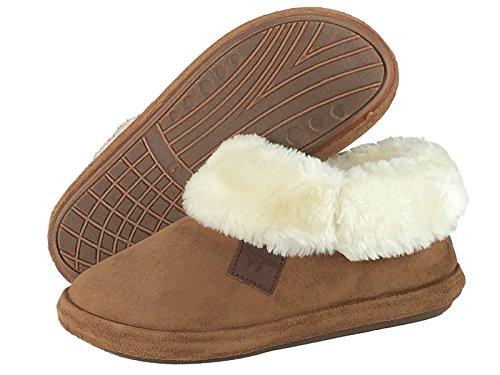 Ladies mullido cálido forrado en plata Zapatillas acogedor de ante Mock cuello de piel tamaño 3a 8 coñac