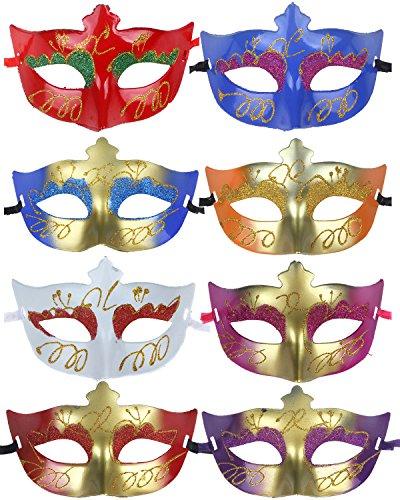12pcs Set Evening Prom Venetian Masquerade Masks Costumes Party Accessory ()