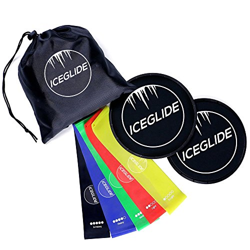 ICEGLIDE Core Exercise Sliders Fitness and 5 Resistance Bands Bundle for Intense Low-Impact Exercises to Strengthen Tone Abs, Booty, and Waist 80 Day Obsession Workout (Fitness Bundle)